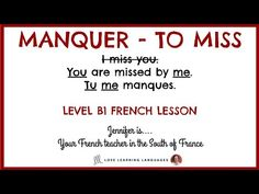 Tu me manques - I miss you - French lesson on the verb MANQUER France Love, French Verbs, Tu Me Manques, French Teacher, French Lessons, I Miss You, I Missed, Online Courses, Language