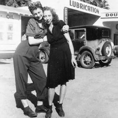 1940s friends, love this photo! great picture of everyday women during the 40s found casual day wear vintage fashion style pants shirt dress shoes head scarf ~