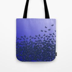 """#Butterflies, #butterfly Horde ;) flying insects themed #pattern, #blue #violet and #purple, vector #design -  Our #quality crafted #Tote #Bags are hand sewn in America using durable, yet lightweight, poly poplin fabric. All seams and stress points are double stitched for durability. They are washable, feature original artwork on both sides and a sturdy 1"""" wide cotton webbing strap for comfortably carrying over your shoulder. #handbag #style #fashion #accessories #apparel #girls #woman #her"""