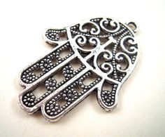 5 Silver Hamsa Hands Antiqued Silver Hand Charms by EthnicBeadShop, $2.90