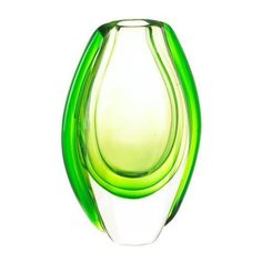 Vibrant green flows through this stunning art glass vase, and it looks just as spectacular empty as it does with a fresh bouquet of flowers. Set it near a window and watch as sunlight streaming through makes this vase even more beautiful. Round Glass Vase, Clear Glass, Glass Art, Vase Centerpieces, Vases Decor, Porcelain Ceramics, Ceramic Vase, Fine Porcelain, Vases For Sale