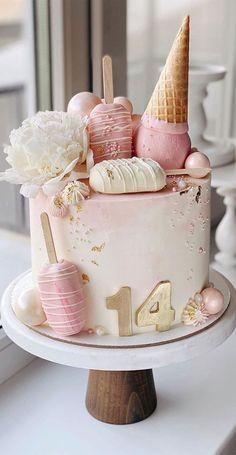 14th Birthday Cakes, Candy Birthday Cakes, Elegant Birthday Cakes, Birthday Cakes For Teens, Beautiful Birthday Cakes, Designer Birthday Cakes, Birthday Cake Design, Birthday Drip Cake, Birthday Cake For Him