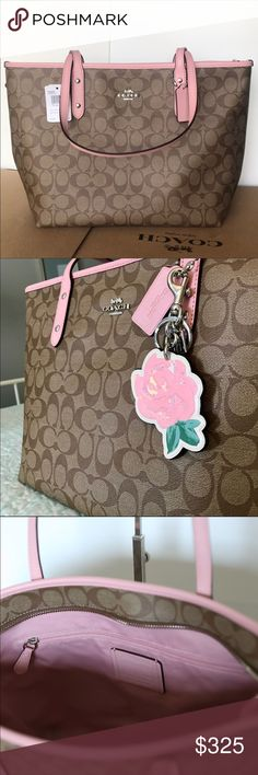 """Coach City Zip Tote & Wallet Price firm unless bundled   Signature coated canvas Inside zip, cell phone and multifunction pockets Zip-top closure, fabric lining Handles with 10"""" drop 11 3/4"""" (L) x 10 1/2"""" (H) x 5 1/2"""" (W)p  Crossgrain leather 12 credit card slots Full-length bill compartments Zip coin pocket Zip-around closure Outside open pocket 7 1/2"""" (L) x 4"""" (H) x 3/4"""" (W) Fits all phone sizes up to an iPhone X and Samsung S7 Edge Coach Bags Totes"""
