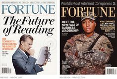 Before-and-after comparison of new Fortune magazine logo
