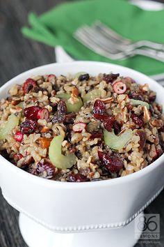 Cranberry, Apricot & Pecan Wild Rice Pilaf - Vegan via 86 Lemons Rice Recipes, Side Dish Recipes, Fall Recipes, Great Recipes, Vegetarian Recipes, Cooking Recipes, Favorite Recipes, Healthy Recipes, Healthy Food