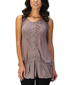Look what I found on #zulily! Sepia Pleated Sleeveless Tunic by MONORENO by Mür #zulilyfinds