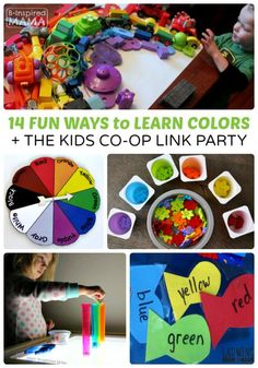 14 Fun Ideas for Learning Colors The Kids Co-Op Link Party at B-Inspired Mama Preschool Color Activities, Kids Learning Activities, Learning Letters, Infant Activities, Fun Learning, Sensory Activities, Little Learners, Learning Colors, Science