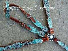 Turquoise/black acid wash custom tack set  Jet (black), crystal (clear) and turquoise swarovski crystals