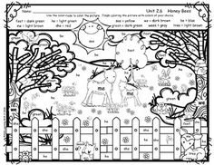 "Free download Color-By-Word Activity aligned with the Reading Street story ""Honey Bees"", Unit 2, Week 6 following the color-code provided."