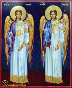 The archangels, Michael and Gabriel Byzantine Icons, Byzantine Art, Religious Icons, Religious Art, I Believe In Angels, St Michael, Michael Gabriel, Catholic Art, Guardian Angels