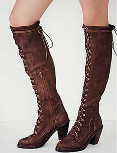 2017 Hot Sale Autumn Winter Dress Shoes Women Round Toe Zipper Detail Mid Heel Botas Mujer Vintage Lace Up Cowboy Knee Boots Long Boots, Tall Boots, Knee High Boots, Over The Knee Boots, Black Boots, Shoe Boots, Shoe Shoe, Lace Up Shoes, Dress Shoes