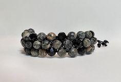 Triple Row Granite and Black Crystal Beaded Bracelet
