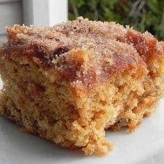 Cinnamon Sugar Apple Cake Recipe Desserts with brown sugar, canola oil, eggs, buttermilk, baking soda, vanilla extract, all-purpose flour, apples, sugar, cinnamon, melted butter