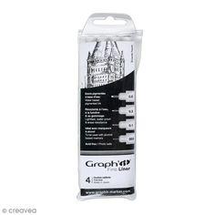 Pochette de 4 feutres fins noirs - Graph'it Fine liner