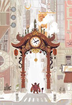scottwatanabe Early Big Hero 6 concept art re-imagining chinatown gate