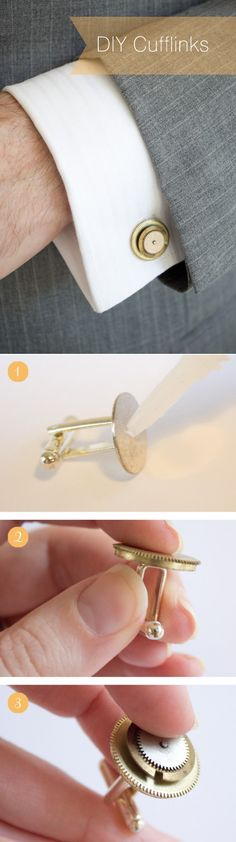 What a great idea! DIY cufflinks out of old watch parts. Perfect for vintage style. #wedding