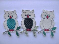 3 Owl Appliques..