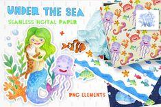 Watercolor sea digital paper by WonderWonder on Sea Clipart, Mermaid Clipart, Party Invitations Kids, Baby Shower Invitations, Watercolor Sea, Cute Mermaid, Mermaid Princess, Jungle Party, Summer Design