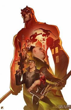 Daredevil, Punisher and more by Carlos Ruiz Comic Book Characters, Marvel Characters, Comic Character, Comic Books Art, Comic Art, Marvel Comics Art, Marvel Heroes, Anime Comics, Fond Design