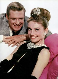 """George Peppard as 'Paul Varjak' and Audrey Hepburn as 'Holly Golightly' in a publicity still for """"Breakfast at Tiffany's"""", 1961 George Peppard, Audrey Hepburn Quotes, Audrey Hepburn Style, Hollywood Stars, Old Hollywood, Classic Hollywood, Hollywood Images, Hollywood Actresses, Actors & Actresses"""