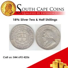 South Cape Coins specialize in rare South African coins, such as this 1896 Silver Two & Half Shillings, with an NGC grade MS62 Call us: 044 695 4256. For more information: info@southcapecoins.co.za #coins, #investment,