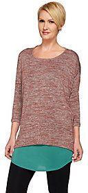 As Is LOGO by Lori Goldstein Twin Set Space Dye Knit Top w/ Shirttail Tank