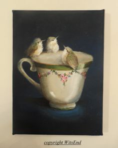 'TEA FOR THREE', baby Hummingbirds tea. (10th in series 'little birds tea'.) by WitsEnd, via Etsy