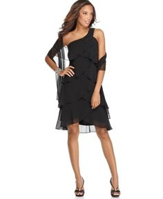 $75 SL Fashions Dress One Shoulder Tiered Cocktail with Shawl