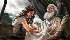 Abraham with Isaac, Rebekah, and his grandsons, Esau and Jacob.HD.