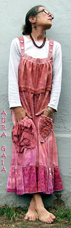 AuraGaia Bib~Bloomers Poorgirl Overalls Victorian Tattered Bloomers Pants