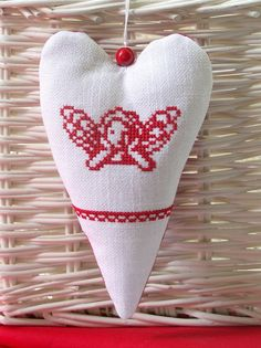 angel - embroidered heart