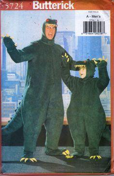 Butterick 5724 Adult Dinosaur GODZILLA Costume sewing pattern unisex jumpsuit by mbchills