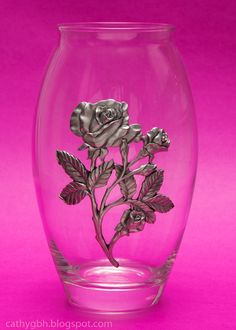 Seagull Pewter Vase - Roses Pattern (8.5 inches Tall) - dated 1997. Flower Basket, Paper Weights, Dried Flowers, Pewter, Shot Glass, Wine Glass, Roses, Antiques, Dry Flowers