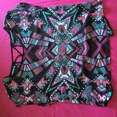 cross back sheer shirt cross back sheer shirt. very cute Tops