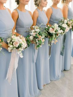 Southern Spring Wedding How do you mix an all white wedding color palette after your bride chooses blue bridesmaid dresses Take a look at the wedding we put together for this beautiful bride The ceremony color palette was all white whilst the color Bridesmaid Dresses Long Blue, Bridesmaids And Groomsmen, Wedding Bridesmaids, Bridesmaid Flowers, Bridal Dresses, Vera Wang Bridesmaid Dresses, Green Wedding Dresses, Blue Dresses, All White Wedding