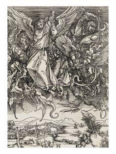 Apocalypse selon Saint Jean - Saint Michel terrassant le Dragon reproduction procédé giclée