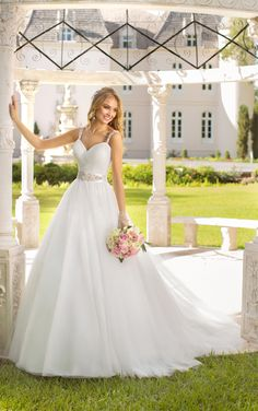 Stella York Princess ball gown wedding dresses with straps exude whimsy that wows with a tucked pattern of pleating in Tulle.