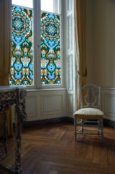 Site that sells fantastic window clings - might go this route for glass bathroom door - Model Home Interior Design Stained Glass Window Film, Faux Stained Glass, Window Glass, Window Art, Bathroom Windows, Glass Bathroom, Glass Kitchen, Bathroom Window Privacy, Bathroom Curtains