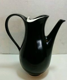 Eva Zeisel Tomorrows Classic 50's MCM Black Matte Coffee Pot #Hallcraft