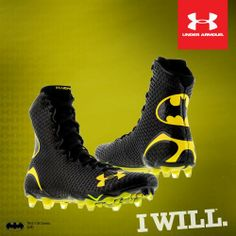 Batman - Under Armour Alter Ego Highlight- if I get back into lacrosse or rugby I'm getting these cleats for sure! Football Gear, Football Uniforms, Football Shoes, Football Cleats, Rugby Gear, Football Things, Football Clothing, Football Stuff, Colin Kaepernick