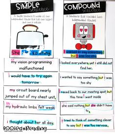 Simple and Compound Sentences: Identifying subjects, predicates, and editing errors Simple Subject And Predicate, Silly Sentences, Mentor Sentences, Grammar Activities, Interactive Activities, Maths, 4th Grade Writing, Exercises