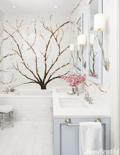 """I love cherry blossoms,"" says designer Caroline Beaupère. ""And this master bath in a house in Jersey City, New Jersey, was inspired by hanami, the Japanese tradition of going to see the blossoms as part of a celebration of spring."""