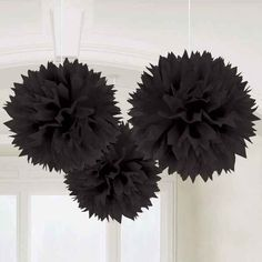 "Amscan // Black Fluffy Decorations | 3pc, 16"" - $8.65"