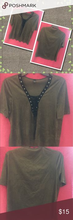 A super soft suede-like t-shirt by Windsor. This shirt is a dark olive green color with a black grommet tie up front.  This can be either casual or dressy depending on what you wear with it.  It is by WINDSOR, size L. Windsor Tops Tees - Short Sleeve