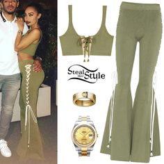 Leigh-Anne Pinnock poted a picture on instagram wearing a Lace-Up Crop Top ($150.00) and Lace-Side Flared Pants ($295.00) both from Fenty Puma by Rihanna, with her Rolex Datejust II Watch ($13,295.00) and a Cartier LOVE Yellow Gold Diamond Ring ($3,500.00).