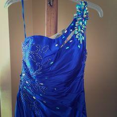 Royal Blue Satin Formal Gown Designer one shoulder beaded prom dress. Side zipper, lined, illusion bead back. Bra cups added. Tony Bowls Dresses One Shoulder