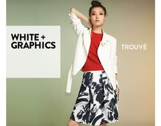White + graphics from Trouvé. Women's contemporary clothing.