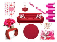 """""""Color Challenge: Red & Pink"""" by fashion-1993 ❤ liked on Polyvore featuring interior, interiors, interior design, home, home decor, interior decorating, Cyan Design, Karuna, Diamond Sofa and The French Bee"""