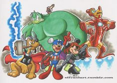Disney and The Avengers Disney Kunst, Disney Art, Disney Pixar, Walt Disney, Cartoon Kunst, Cartoon Art, Disney Marvel, Mickey Mouse Kunst, Tumblr Cartoon