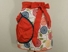 Women's Towel Apron Multi Color Floral with by Barb70CraftShop (Accessories, Apron, Half, barb70craftshop, women, home and living, half apron, towel apron, womans apron, gift ideas, womens apron, gift for mom, towel half apron, mothers day apron, tangerine apron, kitchen apron)